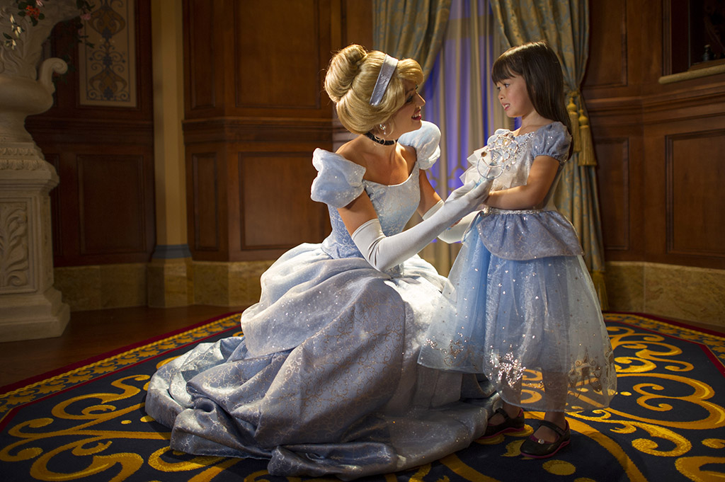 Cinderella greets her new friend at Fairy Tale Princess Hall