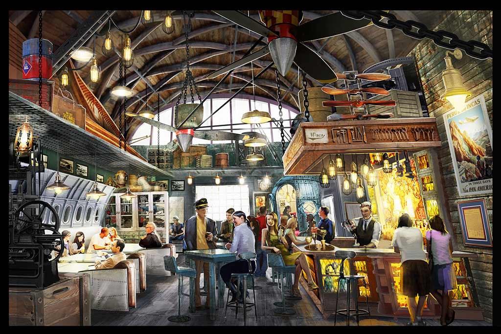 Jock Lindsey's Hangar Bar concept art, interior