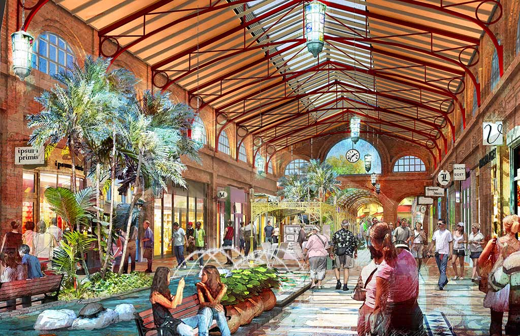 Artist's rendering of interior of Disney Springs Town Center