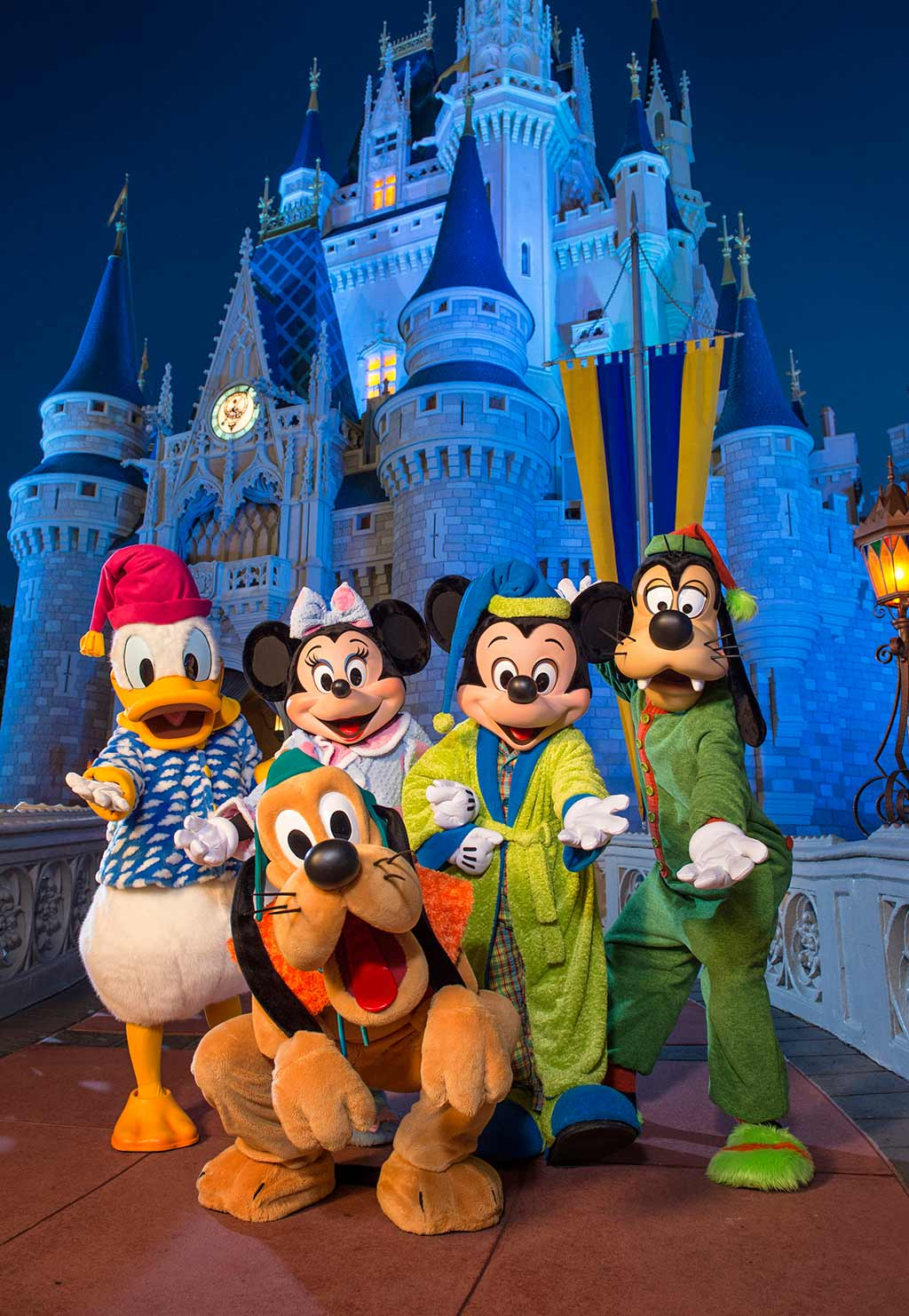 Mickey Mouse and friends in front of Cinderella Castle