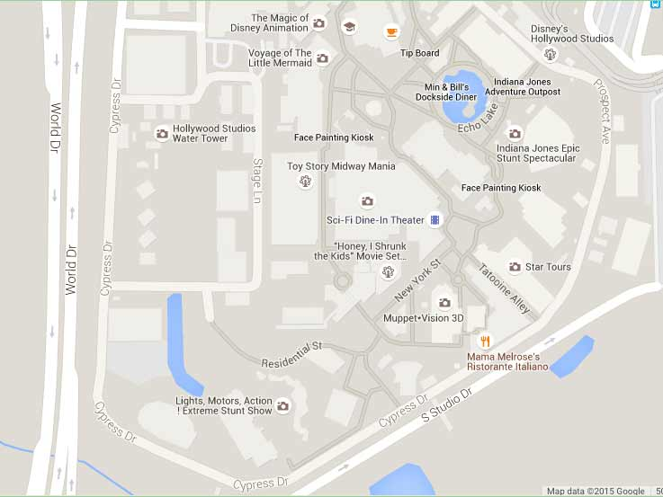 Disney's Hollywood Studios map