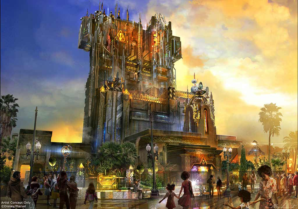 Concept art of the new Guardians of the Galaxy overlay on the Tower of Terror
