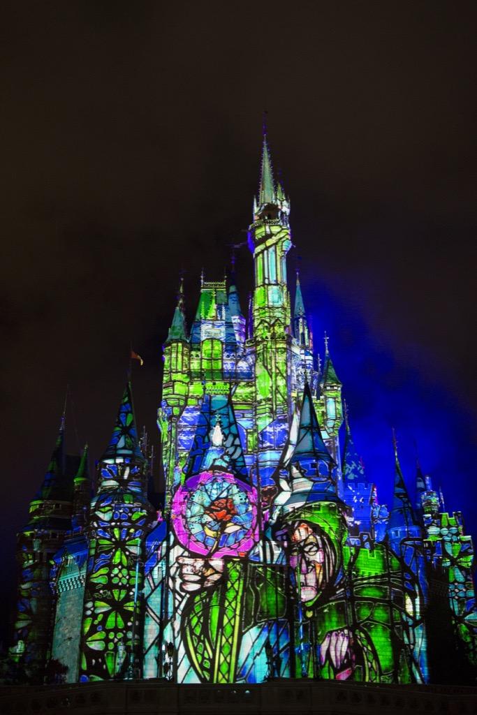 New castle projection show at Disney's Magic KIngdom