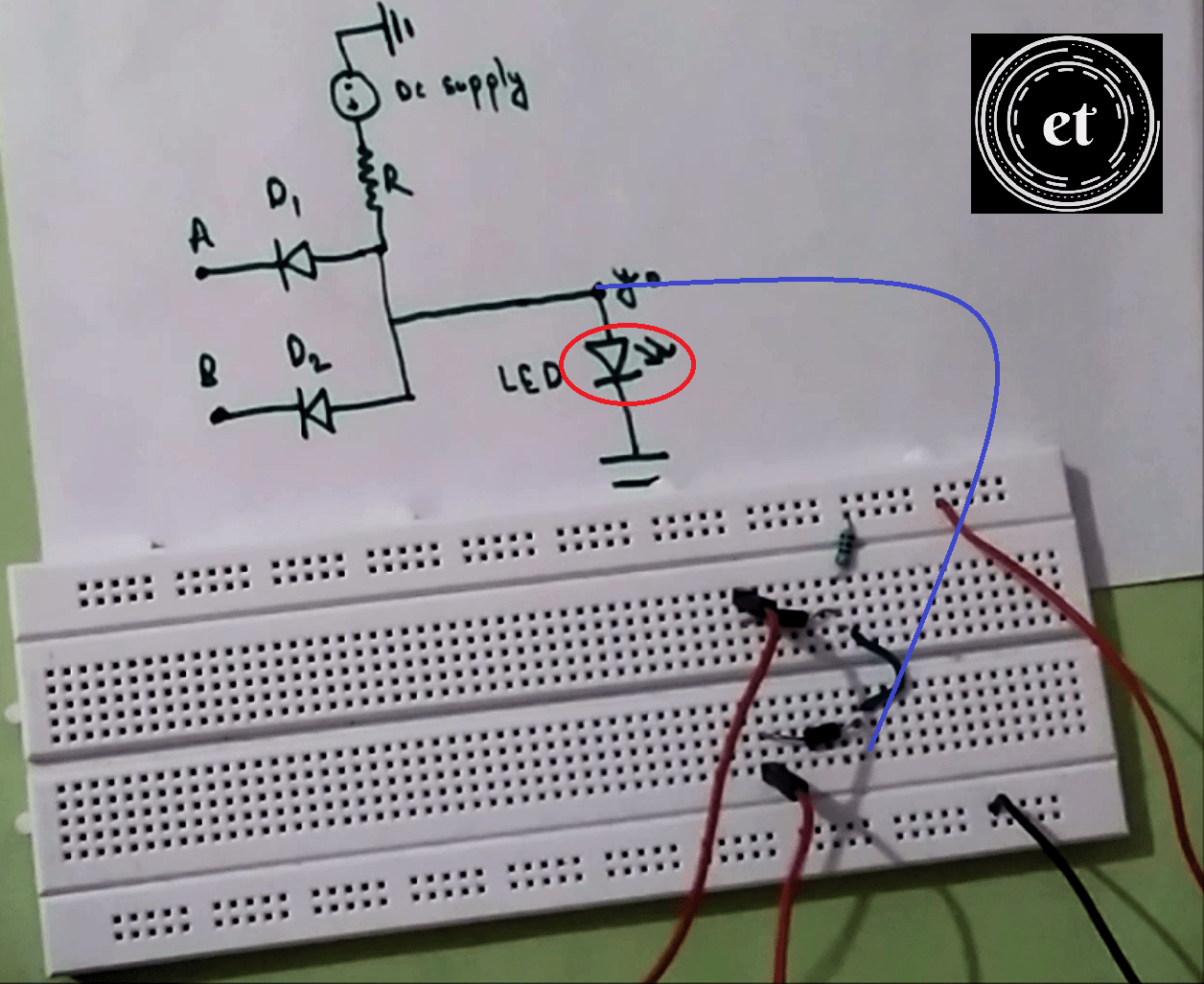 And Gate Circuit Diagram On Breadboard Web About Wiring 9 Volt Led How To Make An Using Diodes Rh Etechnophiles Com Not 35