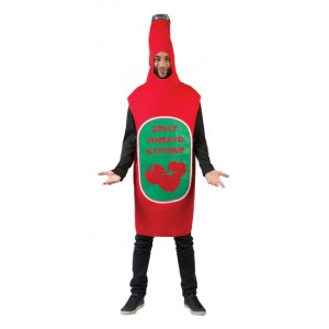 Verkleedkleding rode ketchup fles