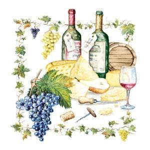 60x Wijn/Kaas thema servetten 33 x 33 cm
