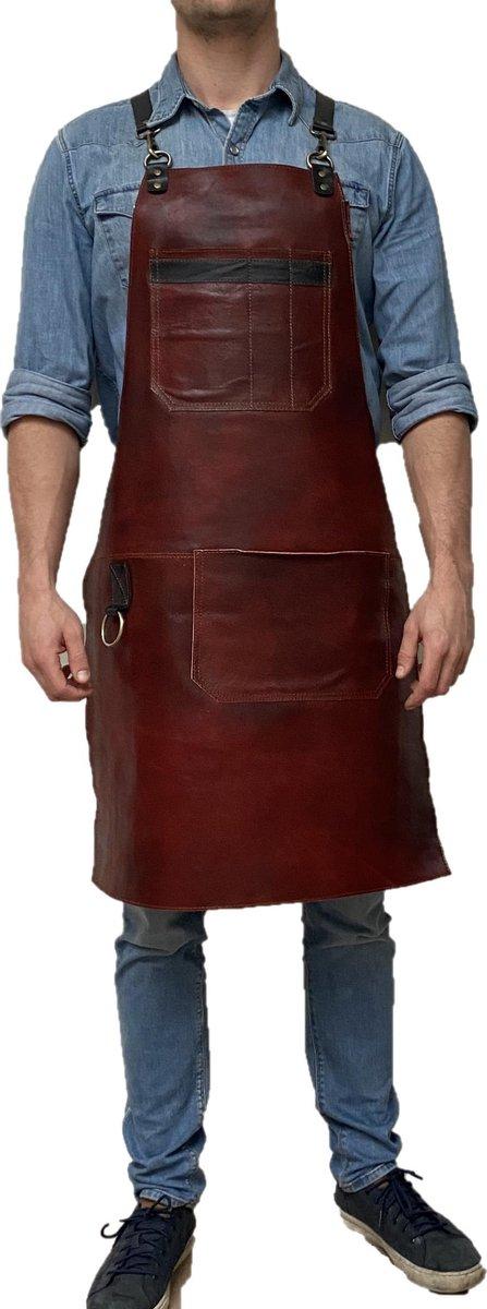 Handgemaakt BBQ Schort - Leren Schort Schort - luxe leren schort - Barbecueschort - Lederen Schort Bruin met extra vak- Kokschort - Kookschort - Keukenschort Man - kado - gift - Rielse Reuzen - IN PRACHTIGE KADO VERPAKKING