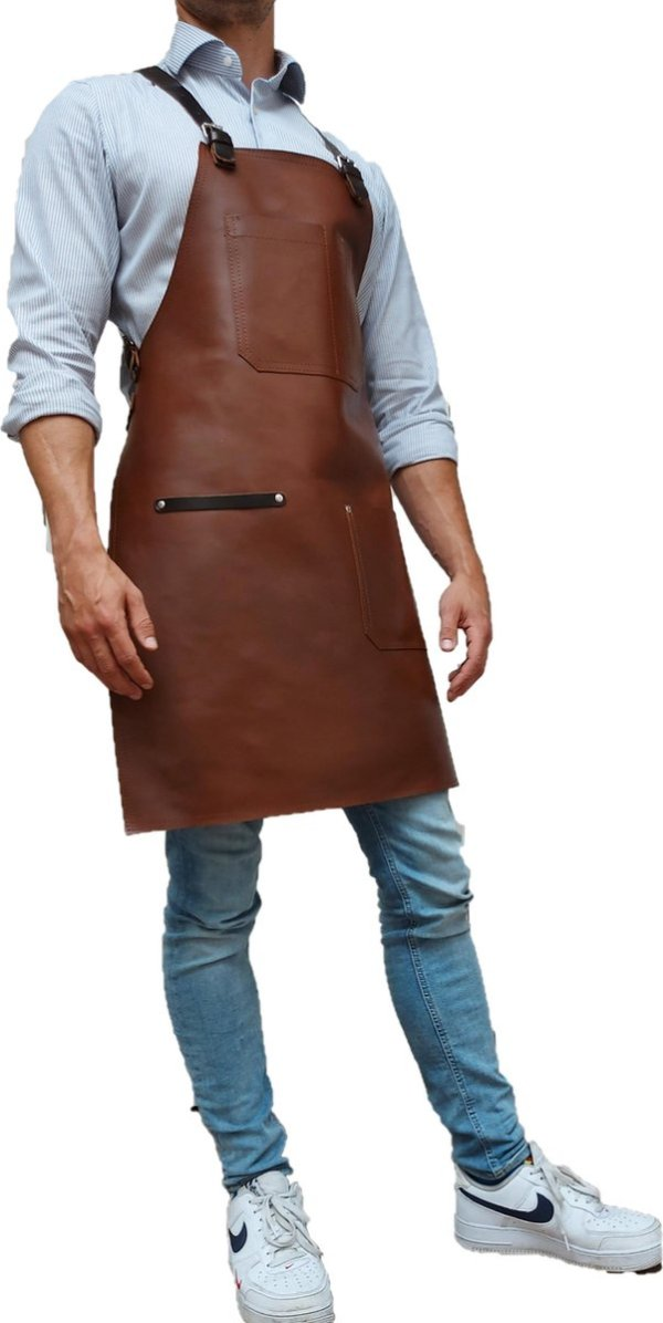 Handgemaakt BBQ Schort - Leren barbecue Schort - luxe leren schort - Barbecueschort - Lederen Schort licht bruin- met 1 zak- Kokschort - Kookschort - Keukenschort Man - kado - gift - Rielse Reuzen - IN PRACHTIGE KADO VERPAKKING