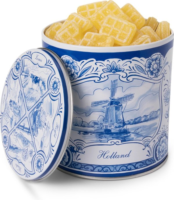 Roomboter wafeltjes snoep in Delfts blauw blik