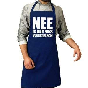 Barbecueschort Niks vegetarisch kobalt blauw heren
