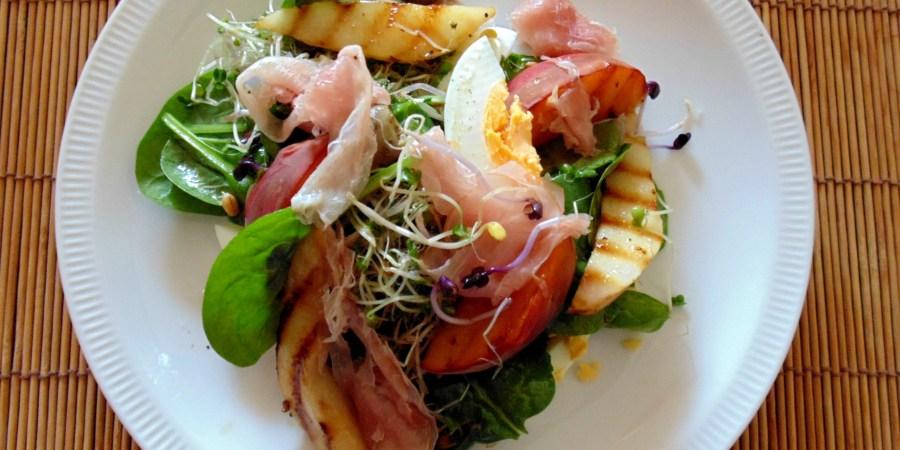 salade gegrild fruit ham
