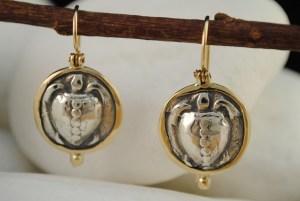 Turtle Coin Dangle Earrings