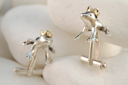 Frog Prince Cufflinks in Sterling Silver & 14K Gold by A.LeONDARAKIS