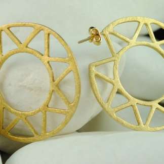 Star Gold Plated Sterling Silver Hoop Earrings - A.LeONDARAKIS