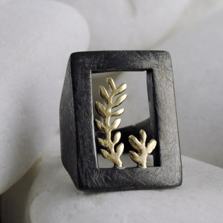 Olive Branch Ring in Black Rhodium Sterling Silver & 14K Gold - A.LeONDARAKIS