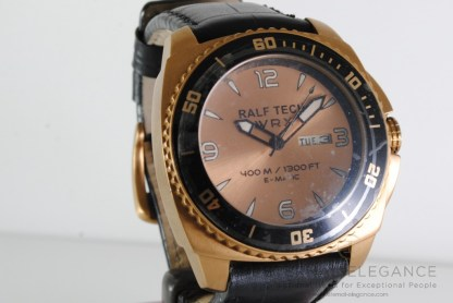 Ralf Tech WRX E-matic, Rose Gold PVD, Black Leather Strap, 400m, Divers Mens Watch