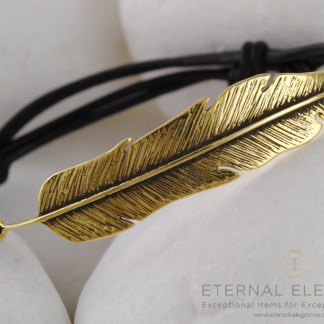 Feather Gold Plated Sterling Silver Leather Bracelet by A.LeONDARAKIS