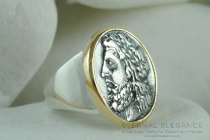 Ancient Greek Coin Ring, Zeus and Pan (God of Shepherds, Hunters & the Wild) - Sterling Silver & 14K Gold by A.LeONDARAKIS