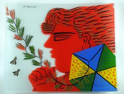 Alekos Fassianos Child with Kite Decorative Home Rectangular Glass Plate