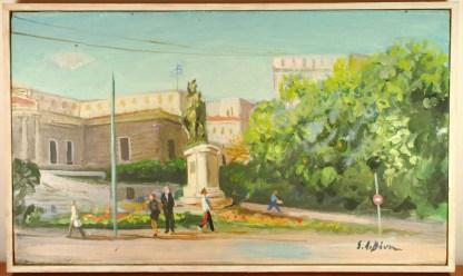 Original Stathis Livanis Oil Painting, Greek Parliament House & Theodoros Kolokotronis Statue