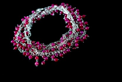 'Rose Passion' Multi Strands Silver Necklace with a Cascade of Fuchsia Agates and Swarovski by Loga di Lusso