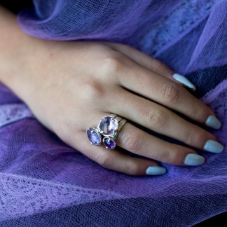 'Touch of Violets' Magic' Ring in Silver with Round Amethyst and Stripy Prongs by Loga di Lusso