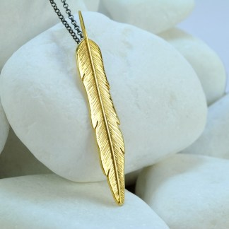 Feather Gold Plated Solid Sterling Silver Pendant with Black Rhodium Plated Chain by A.LeONDARAKIS
