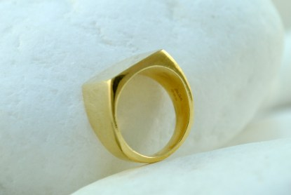 Square Gold Chevalier Ring