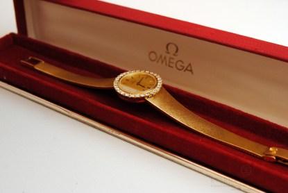 Omega 18k Gold Diamond Bezel Ladies Wristwatch in its Original Red Omega Box