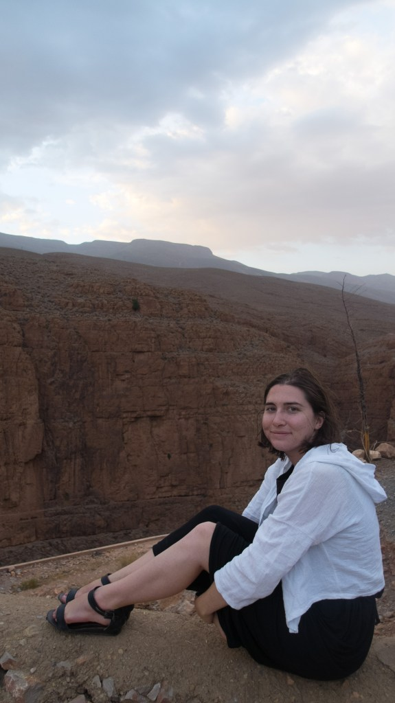 A typical outfit I wore in Morocco - female travelers will experience less trouble if they cover up