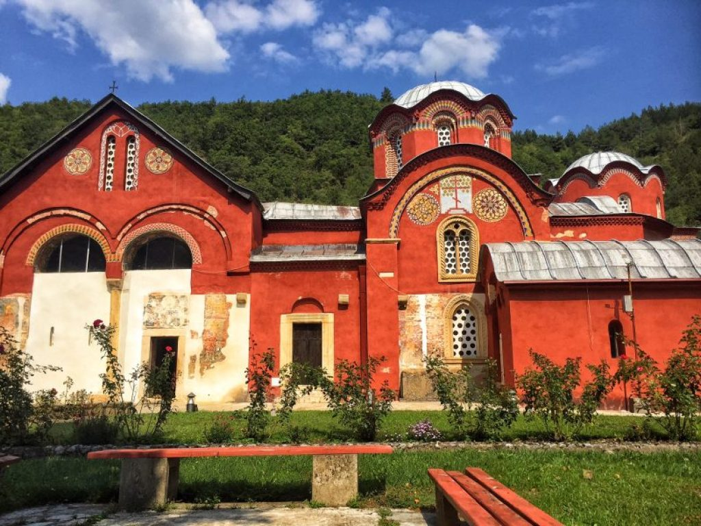 The gorgeous red monastery in Peja