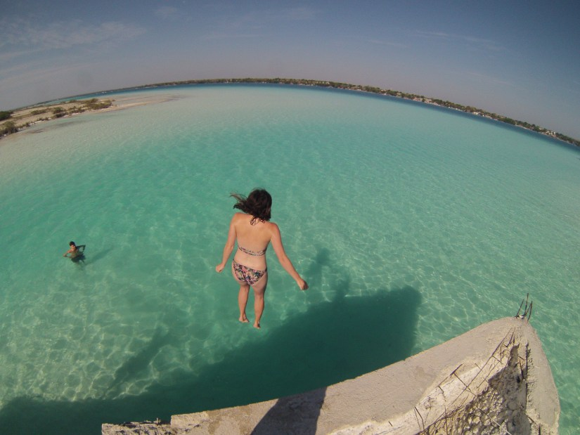 Jumping into the water a great thing to do in Lake Bacalar