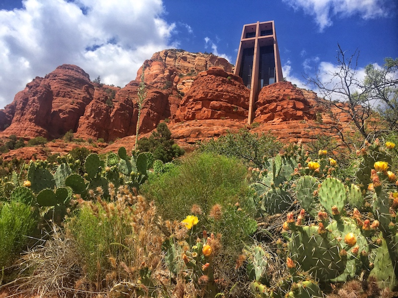 Sedona church next to cactus