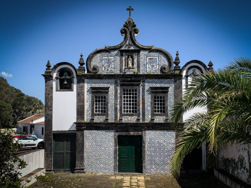 a church covered in azulejo tiles in sao miguel azores
