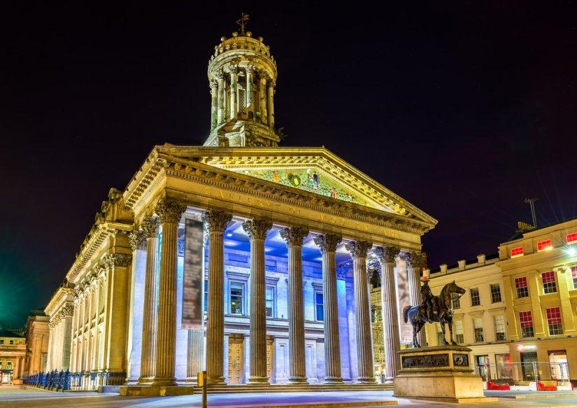 Art museum lit up at night