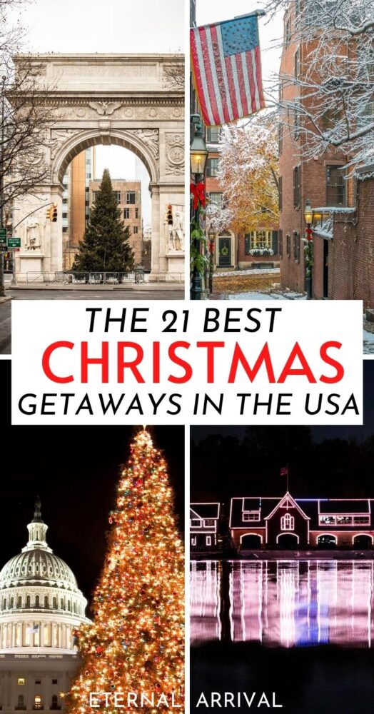 Wondering where to spend Christmas in the USA? Here are travel experts' top picks! Christmas USA winter wonderland | Xmas in the USA | Best places to travel for Christmas USA | places to visit for Christmas USA | where to have a white Christmas USA | best USA Christmas cities | best Christmas decorations USA | best Christmas lights USA | best Christmas towns | best Christmas cities | best places to spend Christmas in the USA | USA Christmas trips