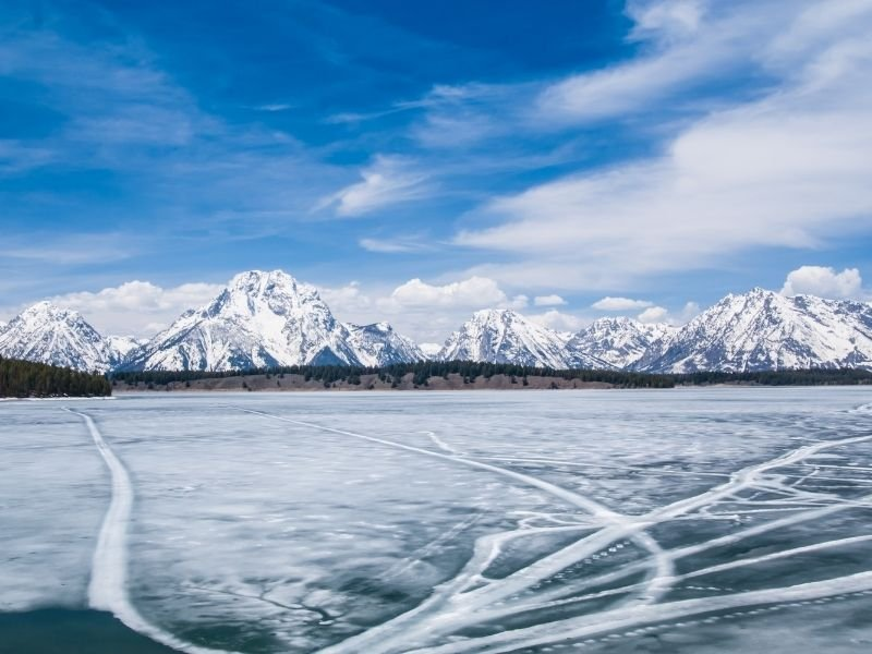 A frozen over lake in Jackson Wyoming in winter