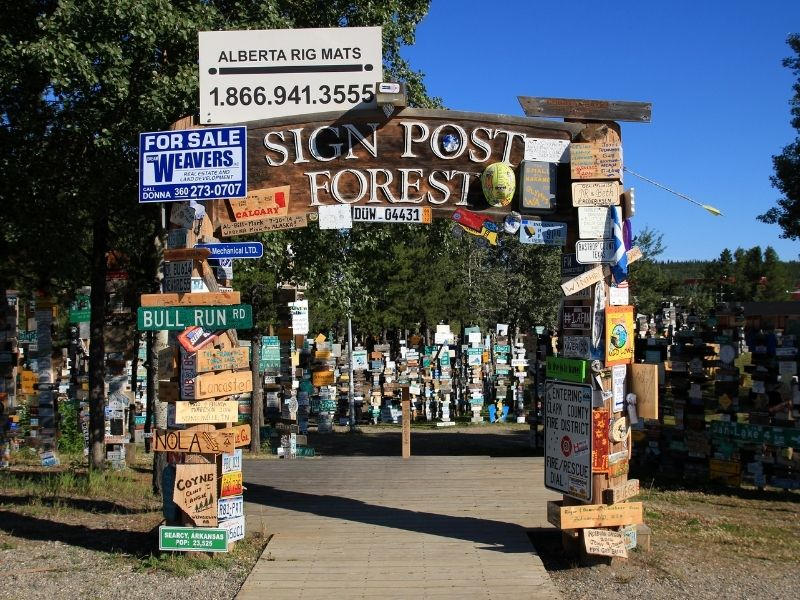 "Sign which reads ""Sign Post Forest"" surrounded by lots of signs from all over the world along the AlCan Highway"