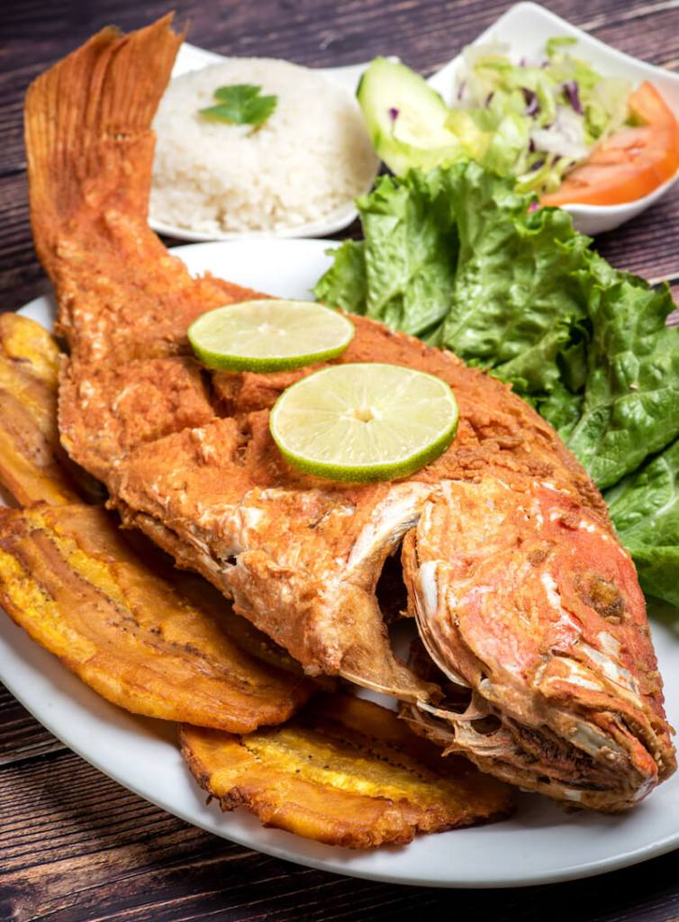 fried fish served on a bed of tostones and salad