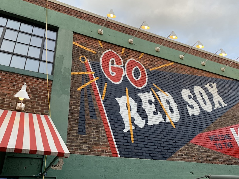 """Sign that reads """"go red sox"""" in Boston"""