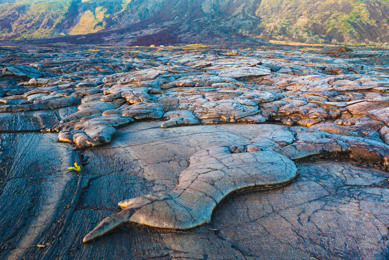 view of the lava flows at hawaii volcanoes np