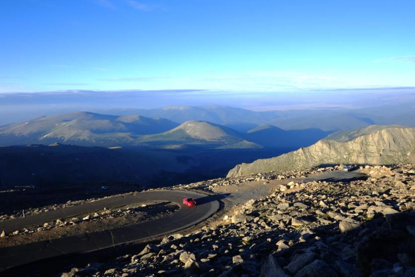 the road going up to the summit of mt evans in colorado
