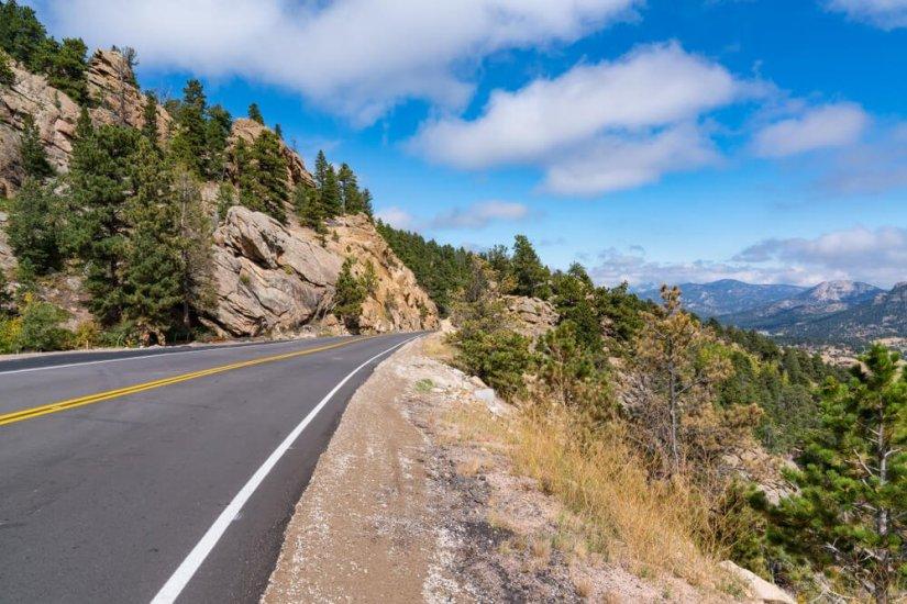 Peak to Peak Highway through the Rocky Mountains near Estes Park, Colorado