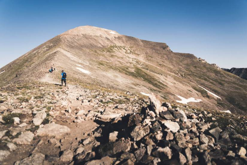 People hiking up the steep section of Quandary Peak in Colorado near Breckenridge hiking spots