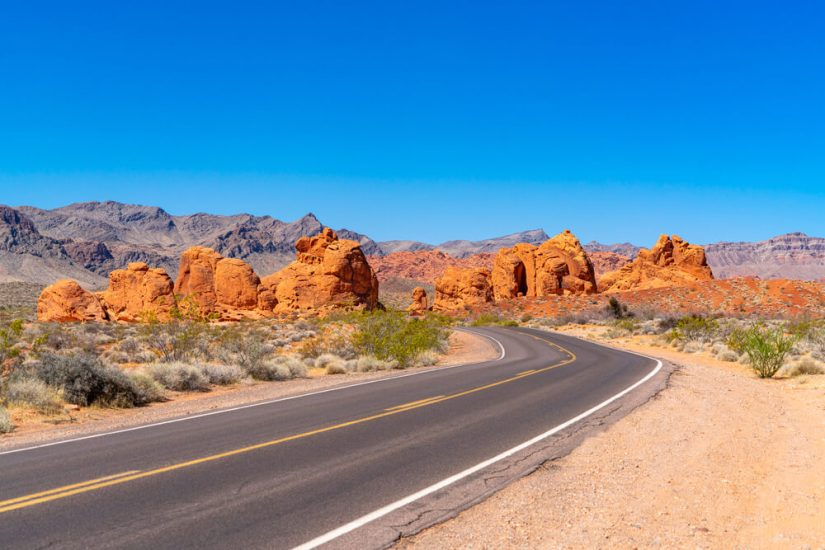 Seven Sisters rock formations in the Valley of Fire State Park in Southern Nevada near Las Vegas.
