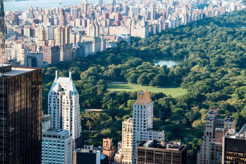 Close up zoomed in view of Central Park against skyscrapers of new york city