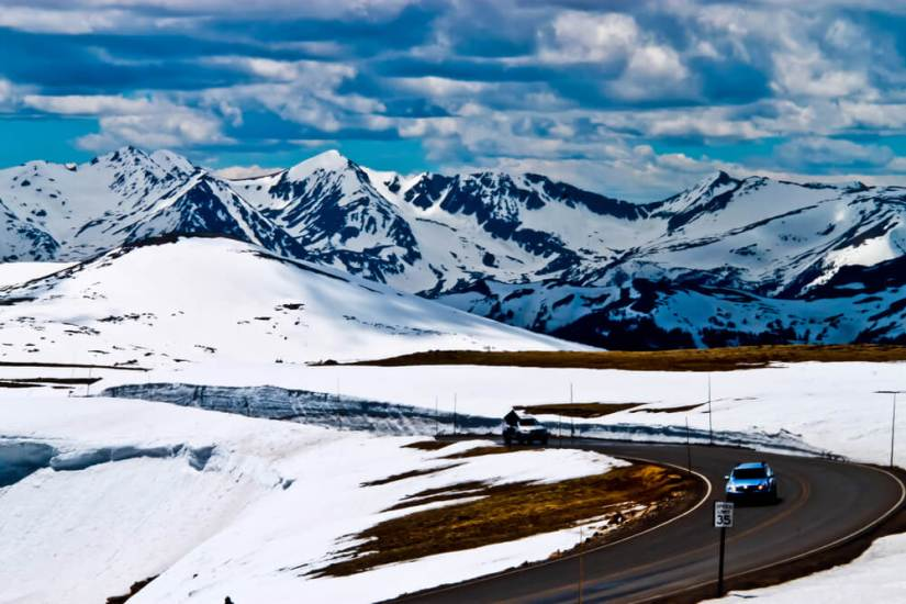 The beautiful snow-covered landscape of Trail Ridge Road in Colorado's Rocky Mountain National Park