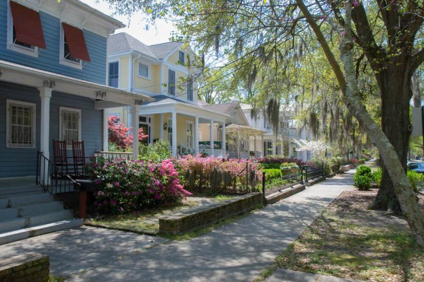 colorful houses in downtown wilmington in blue and yellow with pink flowers