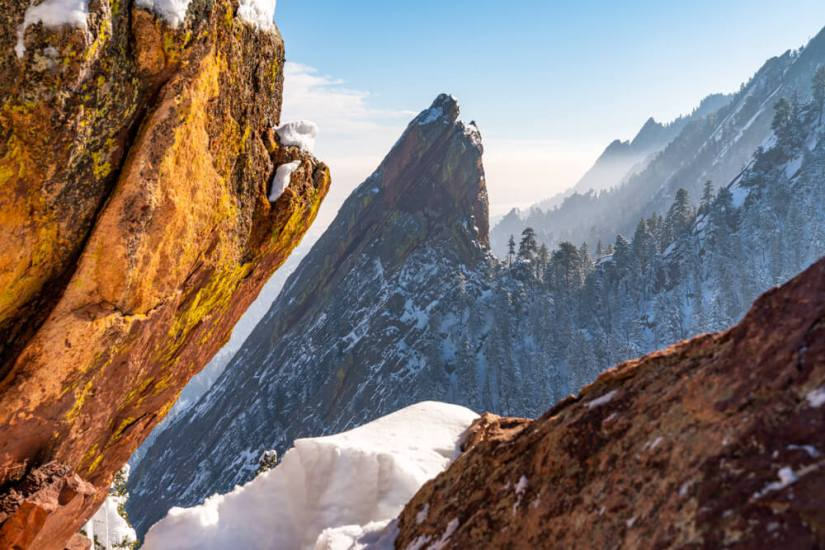 Winter in the Flatirons of Boulder, Colorado, a popular winter active day trip from Denver