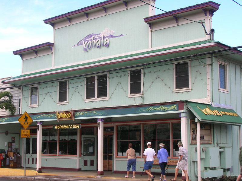 a pale green painted restaurant in the town of hawi hawaii